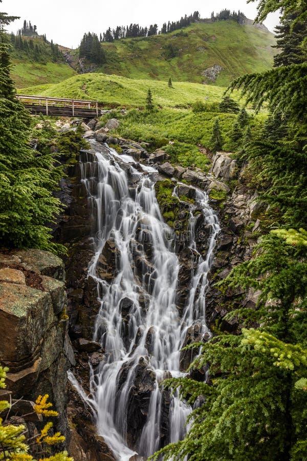 Myrtle Falls do Monte Rainier fotografia de stock