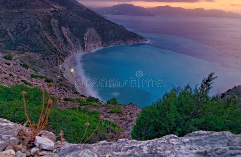 Myrtos海滩在Cephalonia 免版税库存图片