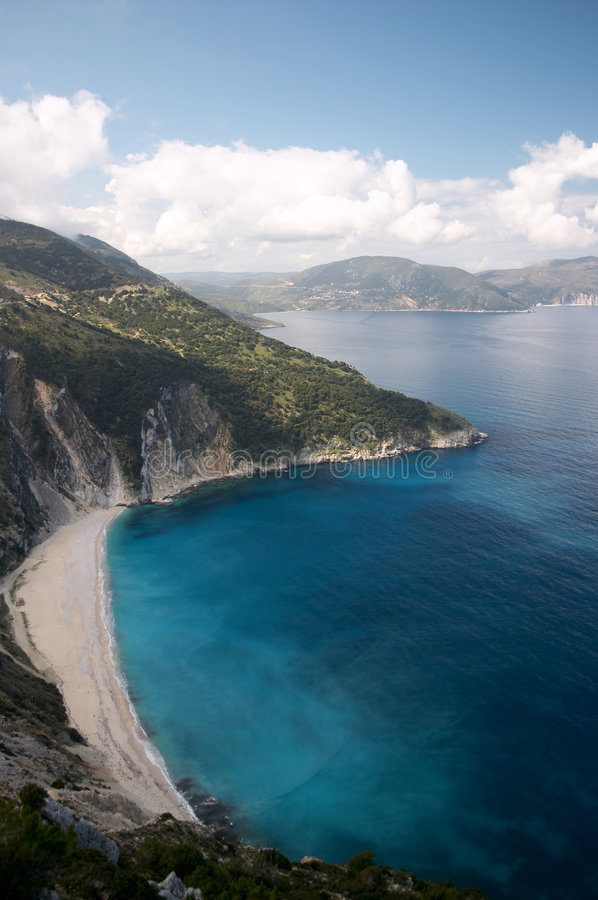 Myrtos beach in Cephalonia stock photo