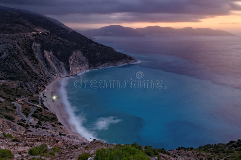 Myrtos Strand stockfotos