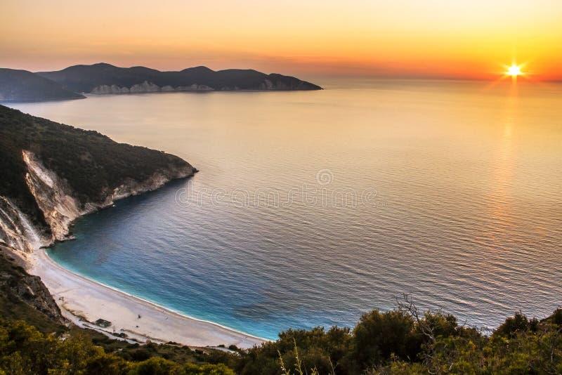 Myrtos strand i Kefalonia arkivfoto