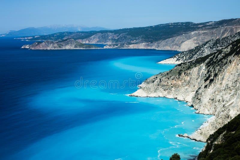 Myrtos strand, Kefalonia ö, Grekland arkivbild
