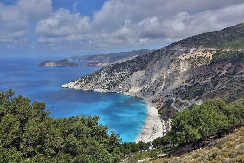 Myrtos-Strand, Kefalonia-Insel, Griechenland lizenzfreies stockfoto