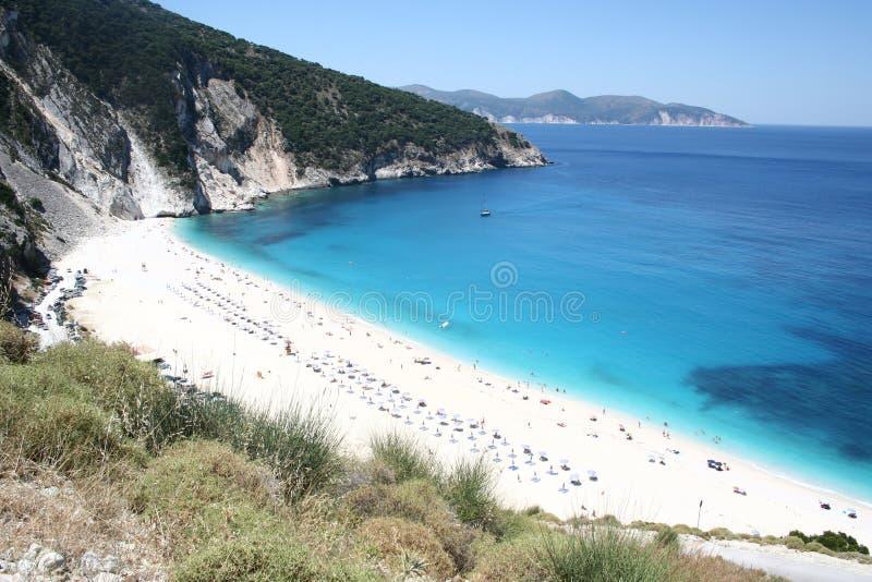 Myrtos Strand, Seelandschaft stockbild
