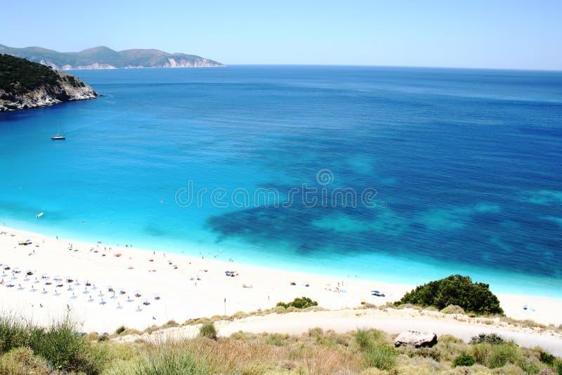 Myrtos Strand, Seelandschaft stockfoto