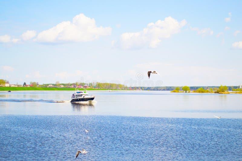 MYSHKIN, RÚSSIA - 4 DE MAIO DE 2016: Um bote está movendo-se rapidamente ao longo do Rio Volga imagem de stock