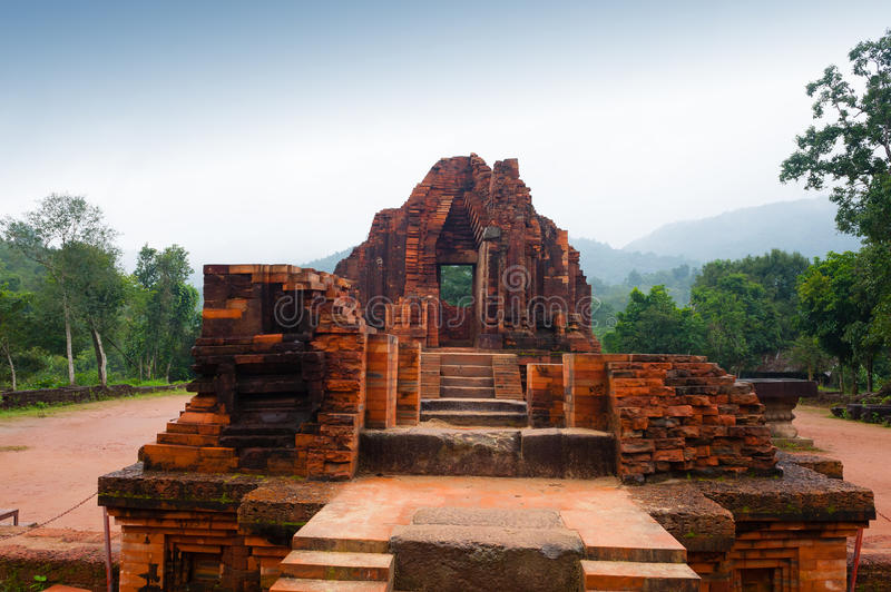 MySon temple in cloudy weather Vietnam. MySon temple red bricks in cloudy weather Vietnam stock photos
