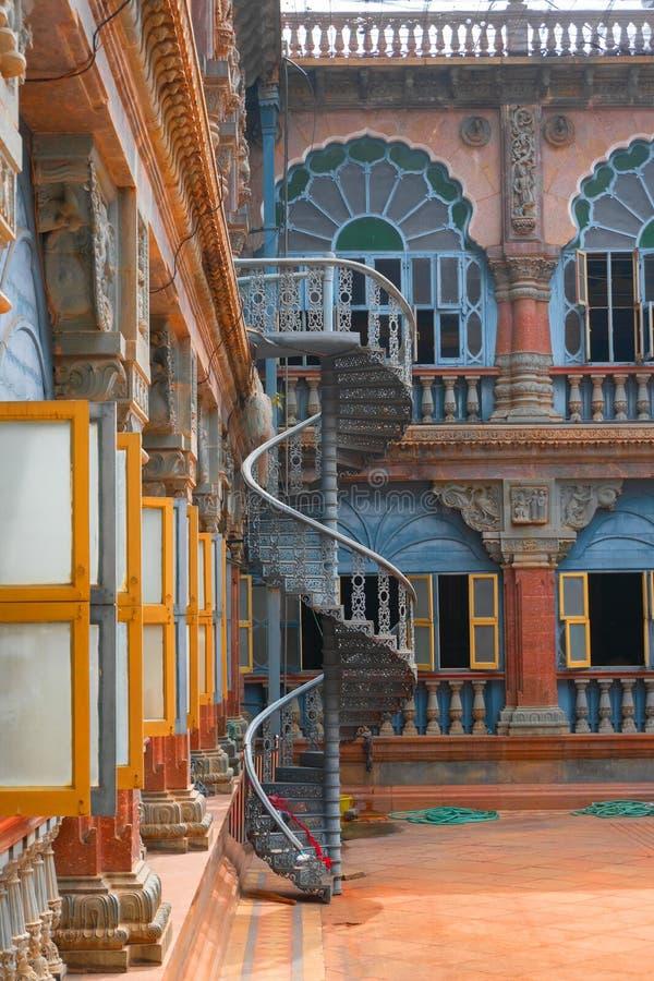 Mysore Palace, Karnataka, India. Mysore, Bangalore, India - November 25th 2018 : Spiral stair case inside Mysore Palace , a historical palace and former royal royalty free stock photo