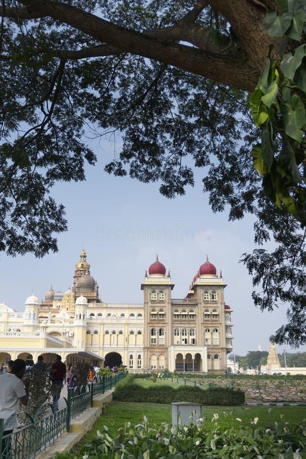 Mysore Palace, Karnataka, India. Mysore, Karnataka, India - November 25th,2018 : A group of tourists visiting Mysore Palace, a historical palace and a royal royalty free stock image