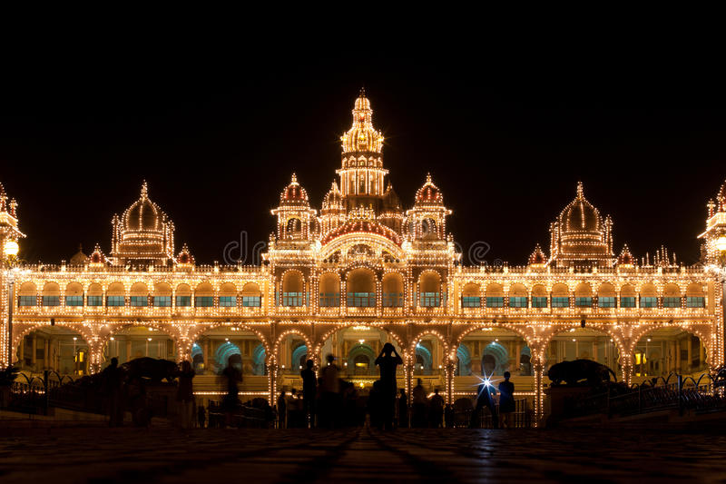 Mysore Palace lights stock photo