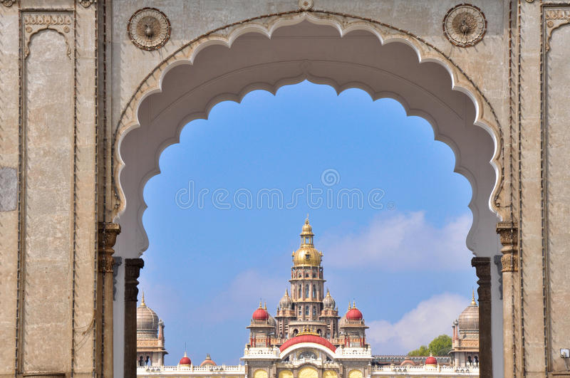Mysore palace through the main gate. India. Mysore palace through the main gate. Karnataka, India stock image