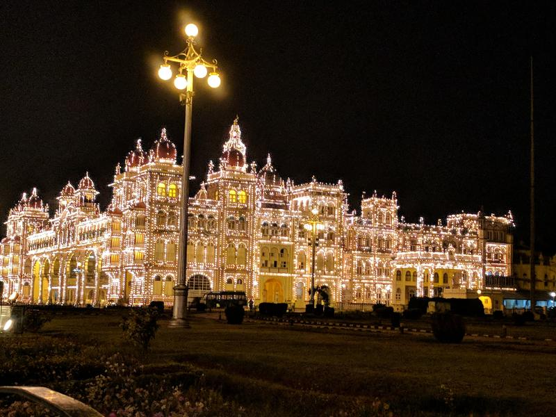 Mysore slott, Indien royaltyfria bilder