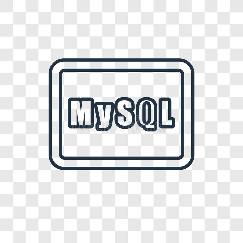 Mysql concept vector linear icon isolated on transparent background, Mysql concept transparency logo in outline style. Mysql concept vector linear icon isolated royalty free illustration