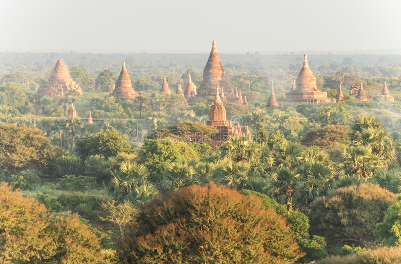 Myst de matin au champ bagan au myanmar avec des pagodas photo stock