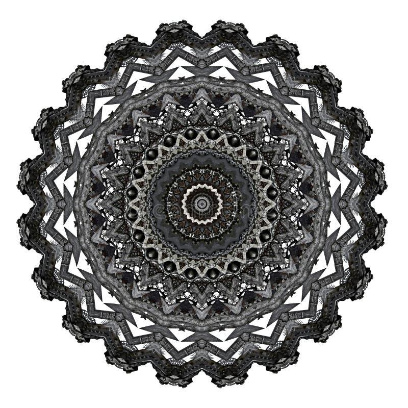 Mysteriös schnitzte digitales Kunstdesign des mit Filigran geschmückten Ornamental Holz vektor abbildung