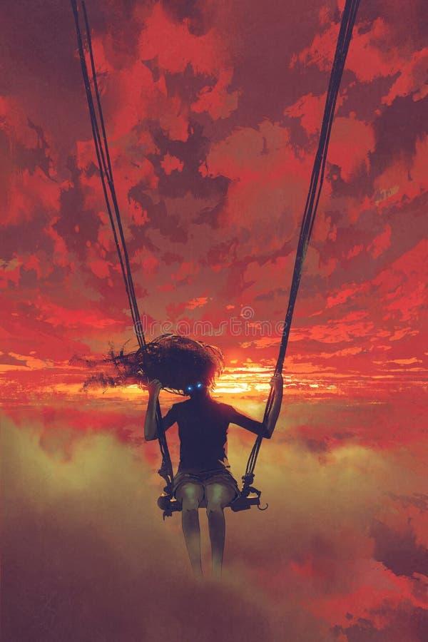 Mysteriöse Frau, die auf dem Schwingen im Himmel sitzt lizenzfreie abbildung