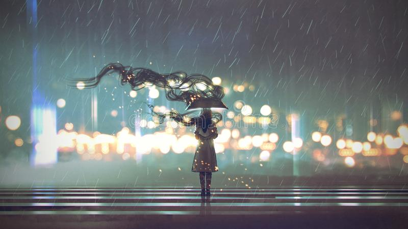 Mysteriöse Frau mit Regenschirm stock abbildung