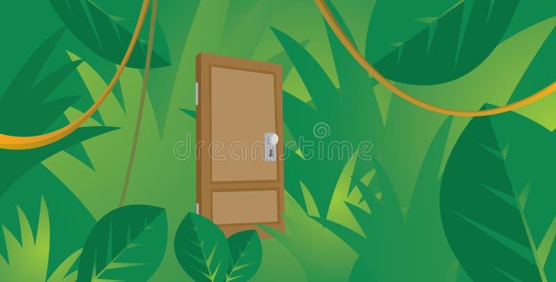 Mysteriöse Tür versteckt im starken Dschungel lizenzfreie abbildung