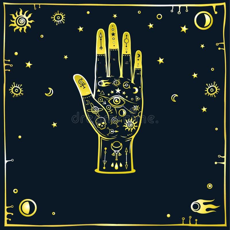 Mysteriöser Hintergrund: die stilisierte menschliche Hand wird mit alchemical singt, Raumsymbole verziert Goldnachahmung vektor abbildung