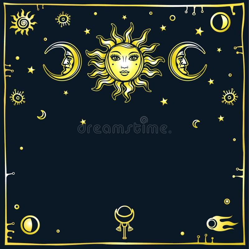 Mysteriöser Hintergrund: die stilisierte Sonne und der Mond in einem Bild des Mannes und der Frau vektor abbildung