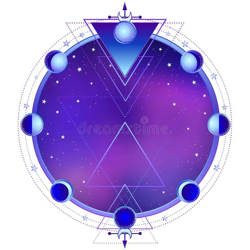 Mysteriöser Hintergrund: Nachtsternhimmel, Kreis einer Phase des Mondes, heilige Geometrie stock abbildung