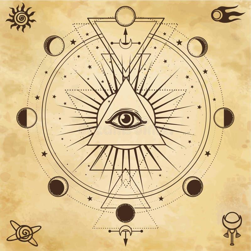 Mysteriöser Hintergrund: Pyramide, Auge gesamt-sehend, heilige Geometrie stock abbildung