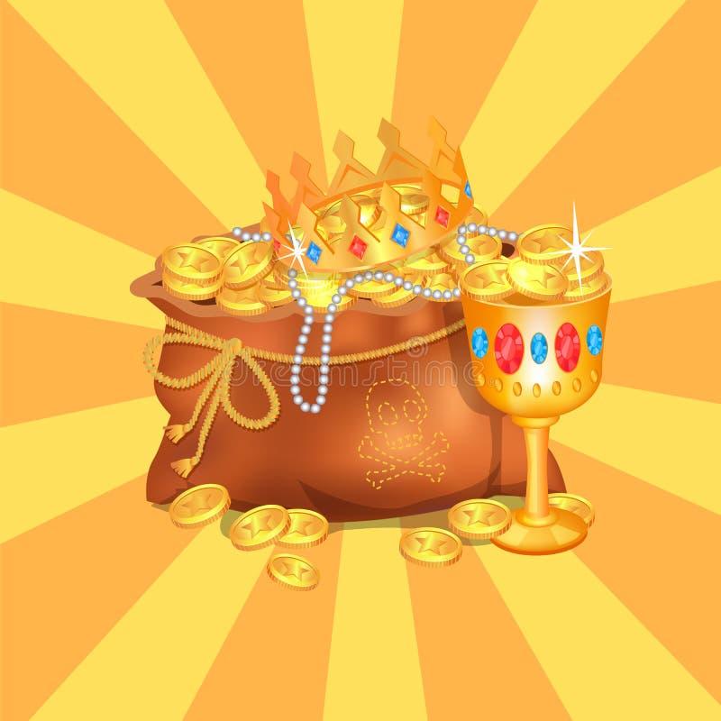 Mysteriöses Rreasure versteckt in der Tasche Königliche Krone stock abbildung