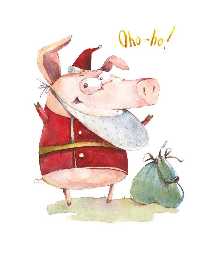 Mysteriöses Schwein Santa Claus vektor abbildung