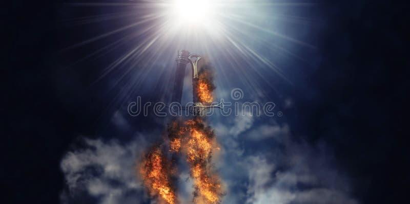 Mysteriöses und magisches Foto der silbernen Klinge mit Feuerflammen über gotischem schwarzem Hintergrund mittelalterliches Zeitr lizenzfreies stockbild