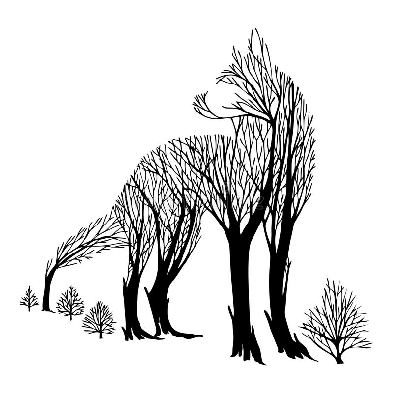 Mysterious aggressive Wolf look back silhouette double exposure blend tree drawing tattoo stock illustration