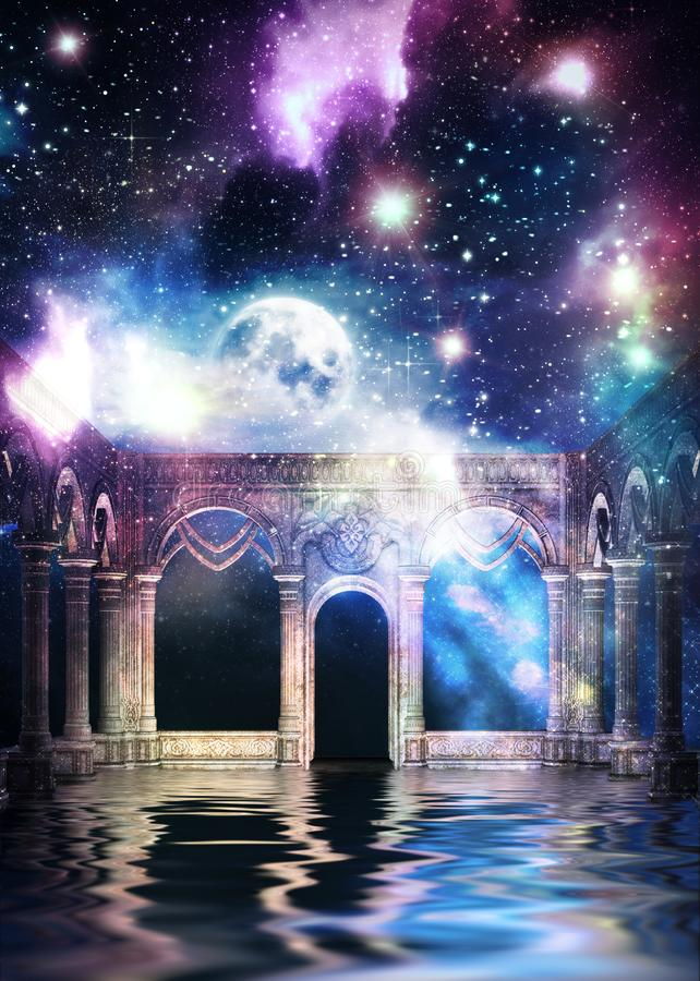 Ancient hall and galaxy stock illustration