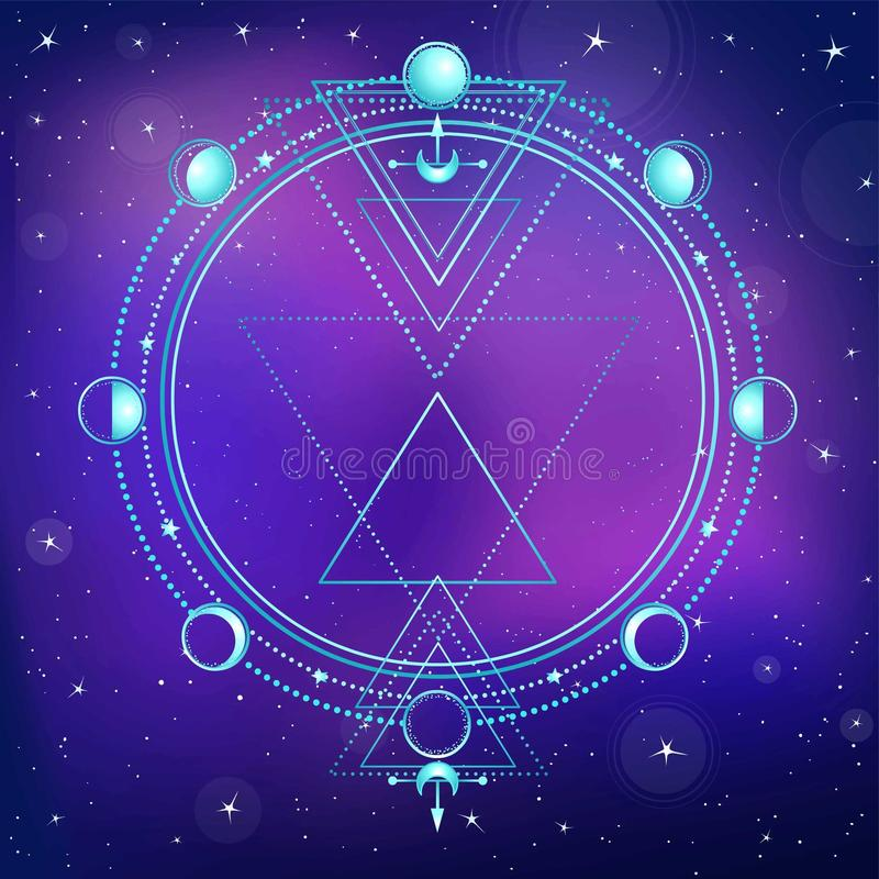 Mysterious background: night star sky, circle of a phase of the moon, sacred geometry. stock illustration