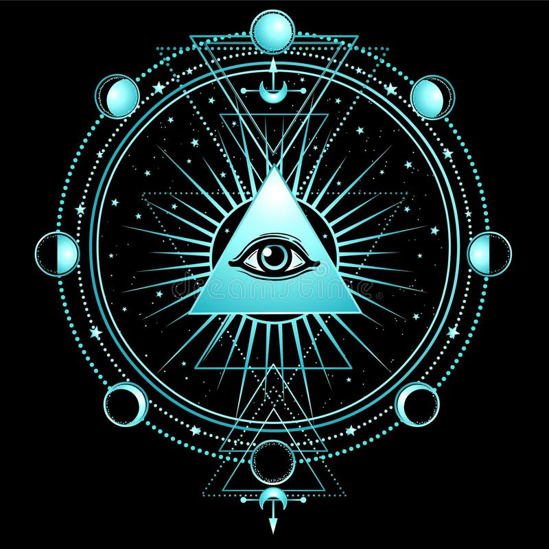 Free Mysterious Background: Pyramid, All-seeing Eye, Sacred Geometry. Royalty Free Stock Photos - 110111418