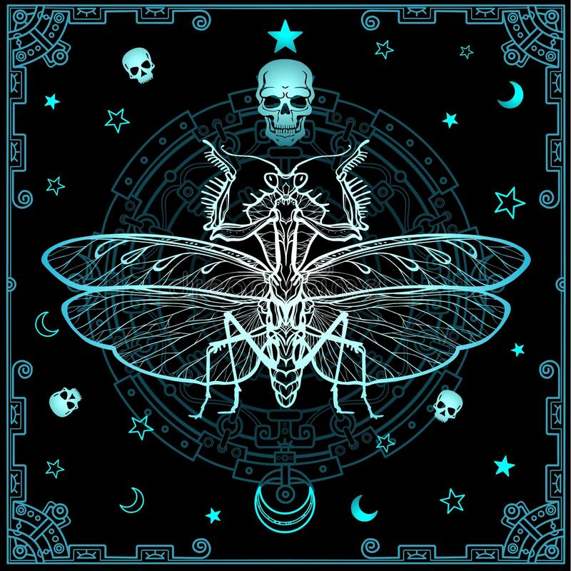 Mysterious background: the stylized color image of a mantis, a mystical circle, a decorative frame. vector illustration