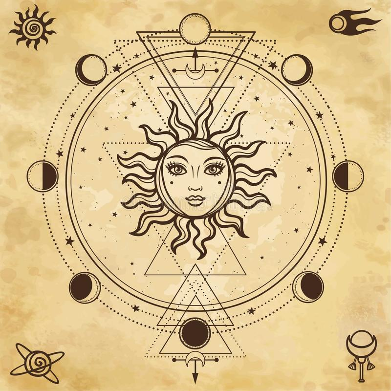 Mysterious background: sun with a human face,sacred geometry, phases of the moon. stock illustration