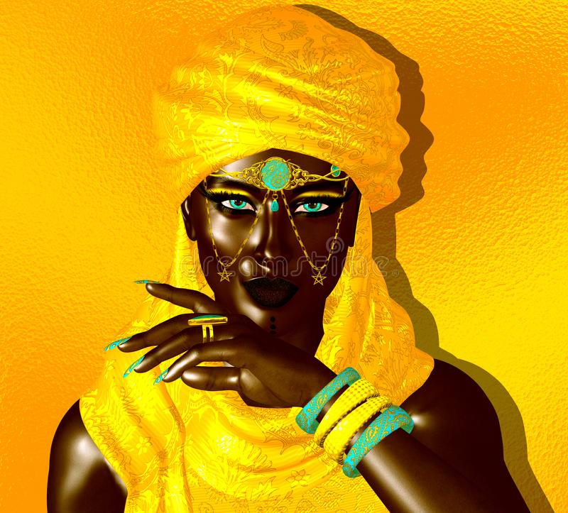Mysterious Black Arab Woman from the Saharan sands vector illustration
