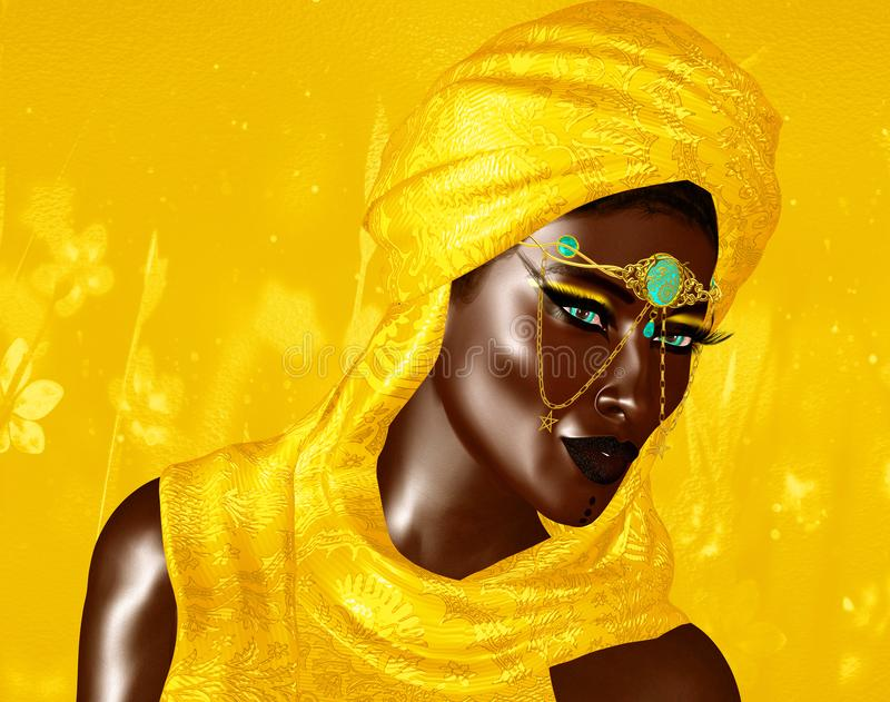 Mysterious Black Arab Woman from the Saharan sands stock illustration