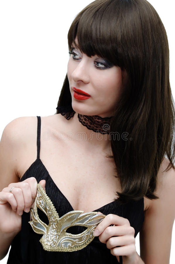 Mysterious brunette with venetian mask royalty free stock image