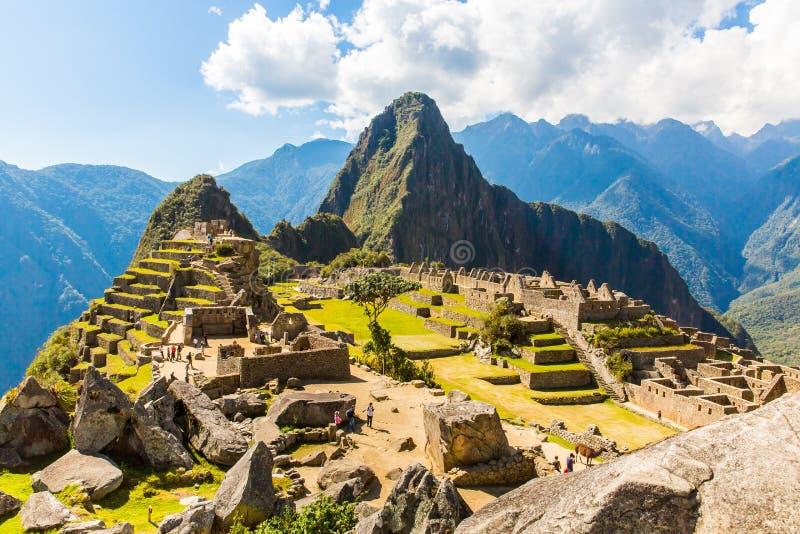 Mysterious city - Machu Picchu, Peru,South America. The Incan ruins. Example of polygonal masonry. And skill stock image