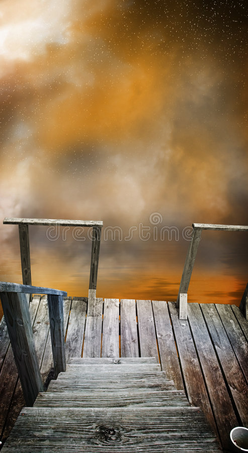 Mysterious dock royalty free illustration