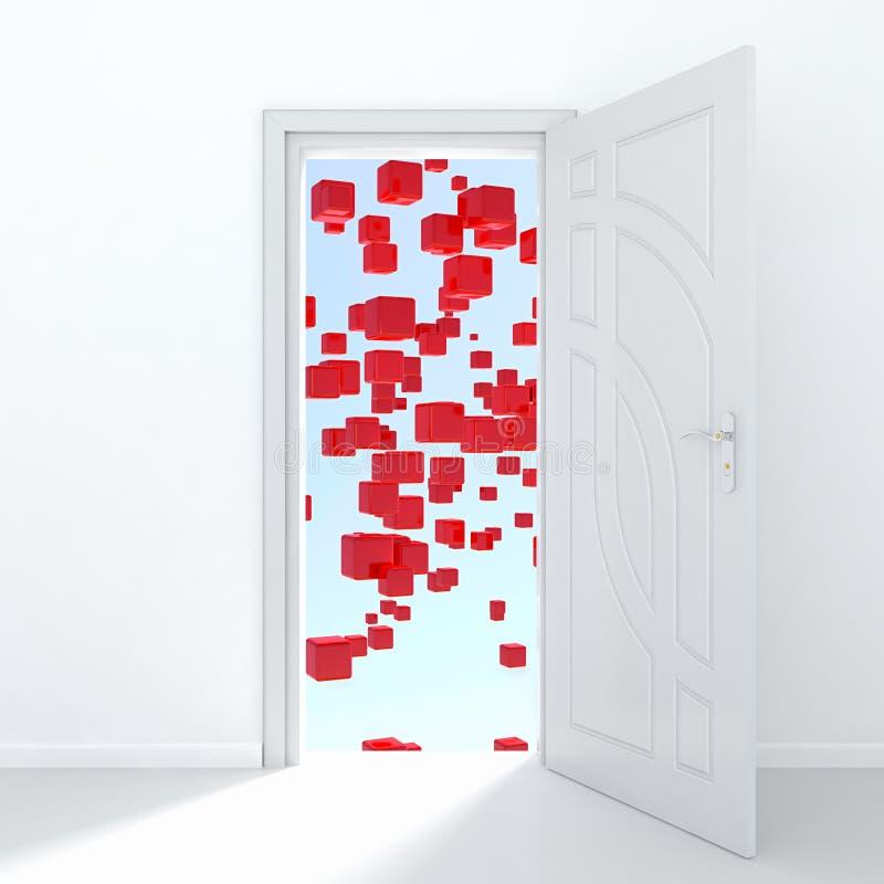 Mysterious door vector illustration