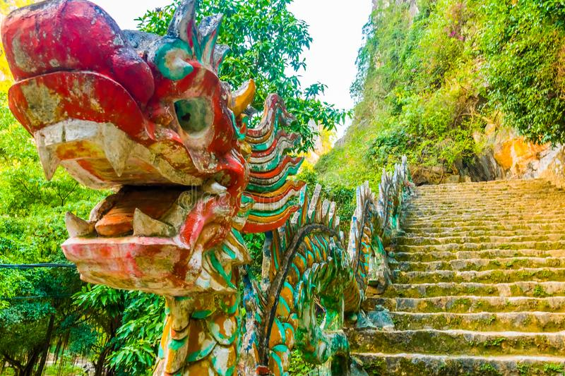 Mysterious dragon of the Hang Mua Cave temple view point in Ninh Binh, Vietnam. Mysterious dragon of the Hang Mua Cave temple view point in Ninh Binh in Vietnam royalty free stock photo