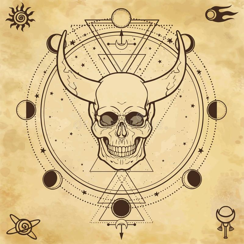 Mysterious drawing: horned skull, sacred geometry, space symbols. vector illustration