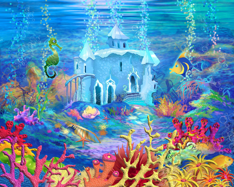 Mysterious And Fantasy Undersea World Underwater Castle