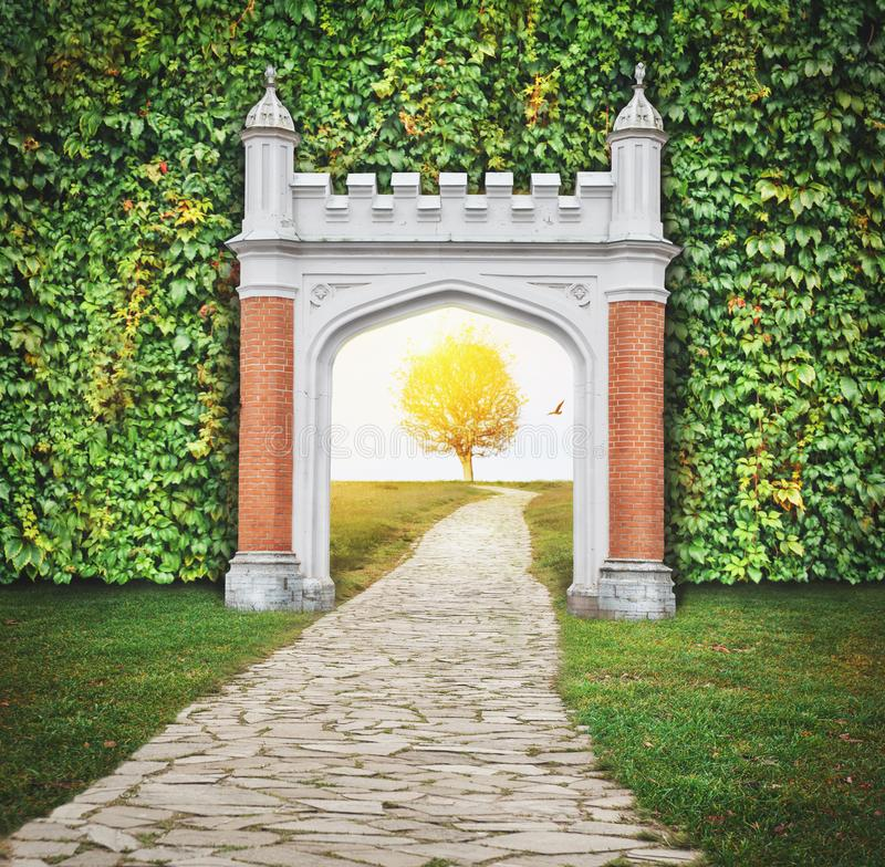 Mysterious gate entrance in dreams. New life or beginning conce royalty free stock photography