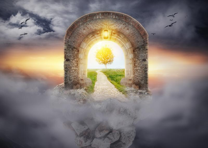 Mysterious gate entrance in dreams. New life concept stock photos