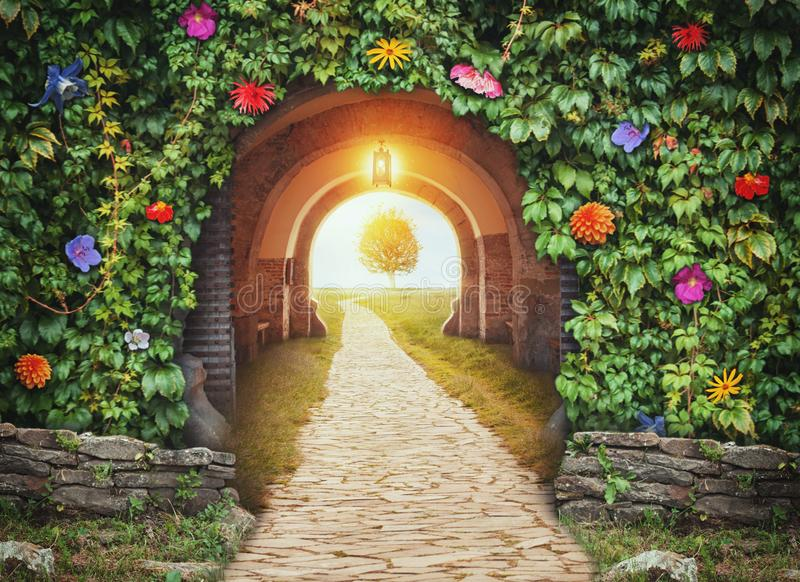 Mysterious gate entrance in paradise. New life concept stock photos