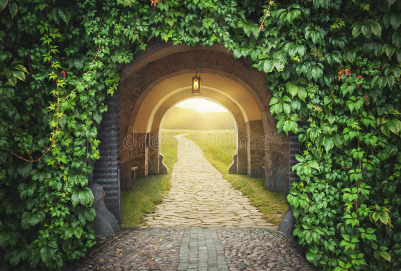 Mysterious gate sunny entrance. New life concept stock photography