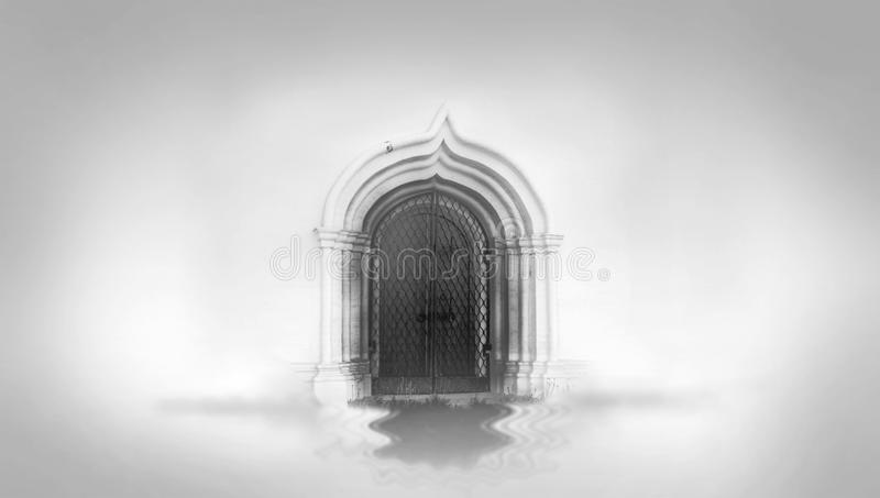Mysterious gate and water surface stock photos