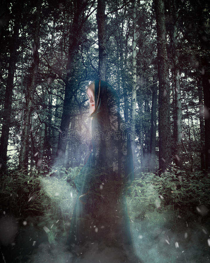Mysterious Ghost Woman with Cloak in Woods stock image